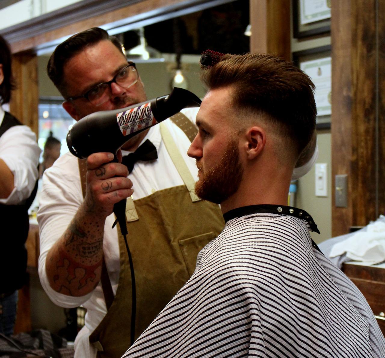 Barber Styling Mans Hair